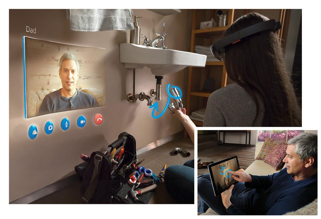 Anwendungsbeispiel der HoloLens. Gezeigt wird ein Vater, wie er seiner Tochter mittels Tablet und HoloLens bei der Montage eines Sifons hilft.
