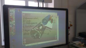 Einsatz der interaktiven Tafel bei der Erprobung
