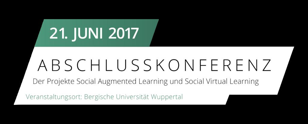 Etikett mit Informationen zur Abschlussveranstaltung, die am 21. Juni 2017 im Gästehaus der Universität Wuppertal stattfindet.