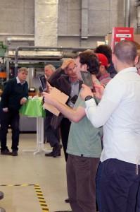 Teilnehmer an der Druckmaschine